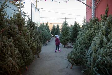 Girl walking among Christmas trees at Christmas market