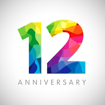 12 th anniversary numbers. 12 years old logotype. Bright congrats. Isolated abstract graphic web design template. Creative 1, 2 3D digits. Up to 12%, -12% percent off discount. Congratulation concept.