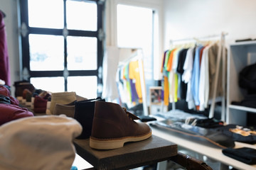 Clothing and shoes in menswear clothing shop