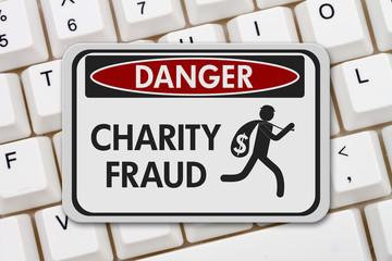 Charity fraud danger sign