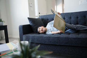Cute boy reading book on living room sofa