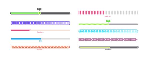 Isolated progress bar set - different styles of loading process indicators