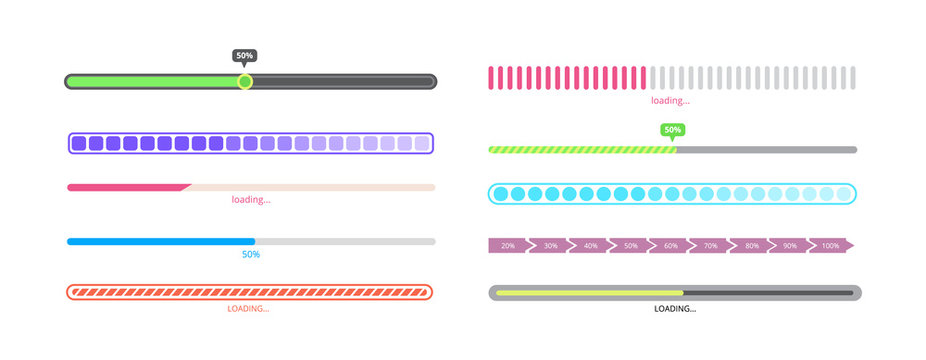 Isolated progress bar set - different styles of loading process indicators
