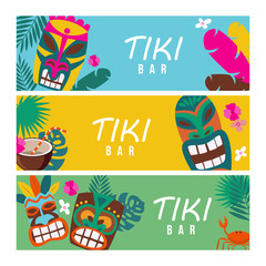 Set of summer banners with Tiki masks and tropical plants vector illustration.