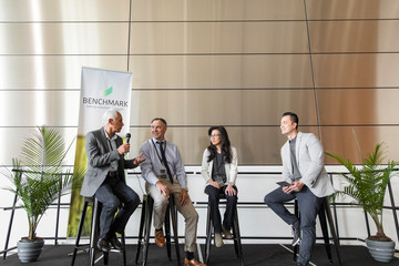 Business people speaking on stage at conference