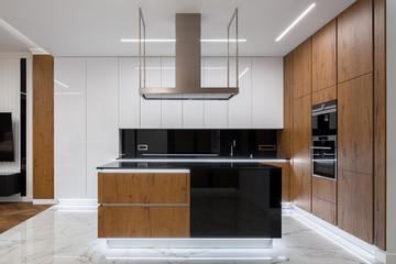 Elegant kitchen with led lighting