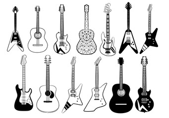 Guitar vector set collection graphic clipart design