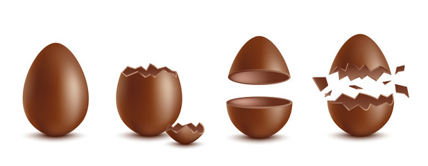 Realistic chocolate eggs broken, halves and whole, vector illustration isolated.