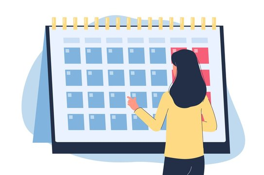 Woman looking at monthly calendar - menstruation cycle control banner