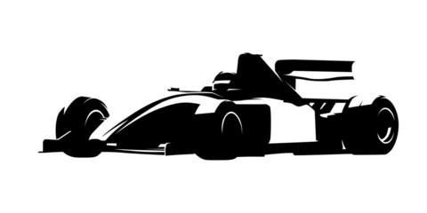 Formula racing car, isolated vector silhouette, ink drawing