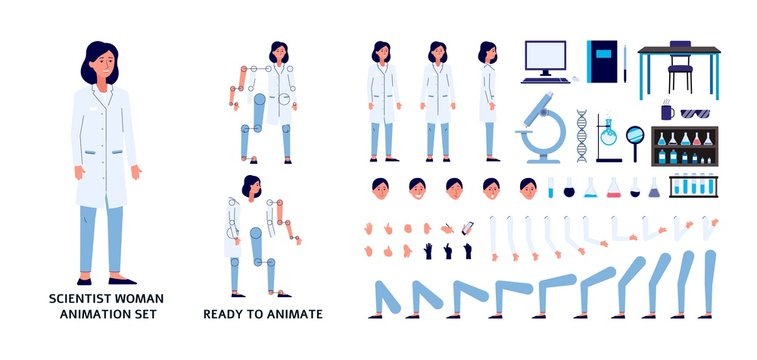 Scientist woman character constructor set, flat vector illustration isolated.