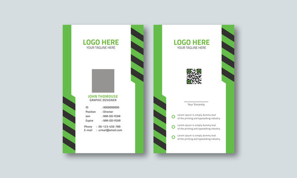 Corporate green id card template layout