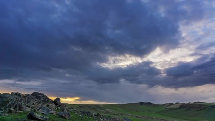 Wall Mural - timelapse with dramatic sunset in Mongolia mountains, 4k