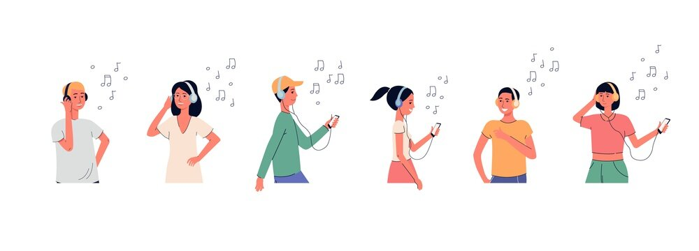 People in headphones listening music set of flat vector illustration isolated.