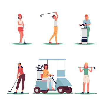 Woman golf player set with sport equipment flat vector illustration isolated.