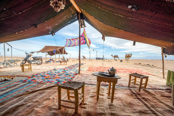 Interior of Bedoiun temporary stretch tent on Agafay desert, Morocco