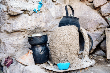 Outdoor traditional Berber kitchen in Morroco, Africa