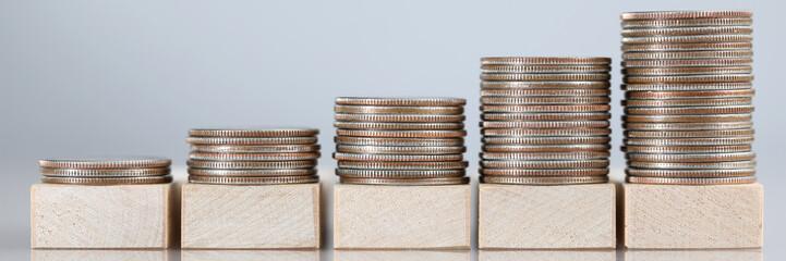Stacks of cash in ascending order