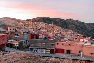 Berber town called My Brahim at sunset, Morocco