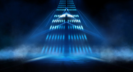 Wall Mural - Dark background with lines and spotlights, neon light, night view. Abstract blue background.