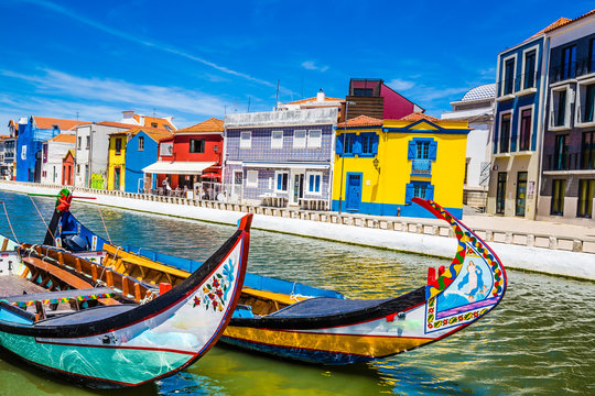 Colorful Buildings And Boats - Aveiro, Portugal