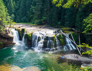 Stunning aerial photos of Lower Lewis River Falls on the majestic Lewis River in Skamania County and the Gifford Pinchot National Forest in Washington State