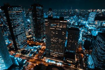 Spoed Foto op Canvas Tokio 東京 新宿 都庁から見た夜景 ~Night View of Tokyo Shinjuku~
