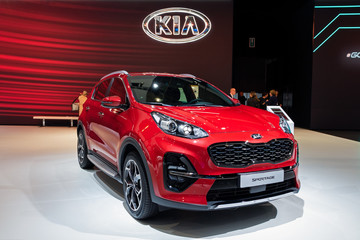 BRUSSELS - JAN 9, 2020: New 2020 Kia Sportage car model presented at the Brussels Autosalon 2020 Motor Show.