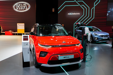 BRUSSELS - JAN 9, 2020: New Kia e-Soul electric car model presented at the Brussels Autosalon 2020 Motor Show.