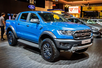 BRUSSELS - JAN 9, 2020: Ford Ranger Raptor Super Pick-Up truck presented at the Brussels Autosalon 2020 Motor Show.