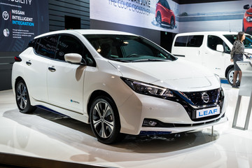 BRUSSELS - JAN 9, 2020: New 2020 Nissan Leaf electric car model presented at the Brussels Autosalon 2020 Motor Show.