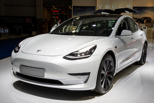 BRUSSELS - JAN 9, 2020: New Tesla Model 3 electric car presented at the Brussels Autosalon 2020 Motor Show.
