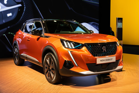 BRUSSELS - JAN 9, 2020: New Peugeot 2008 GT car model presented at the Brussels Autosalon 2020 Motor Show.