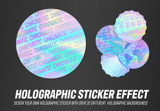 Holographic Sticker Design Mockup
