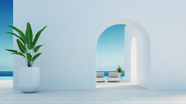 Gate to the sea view & Beach living - Santorini island style / 3D rendering