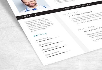 Resume Layout with Highlighted Dividing Lines