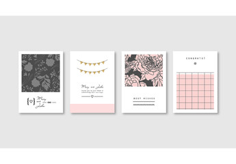 Set of Elegant Pink Card Layouts
