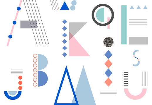Creative Alphabet Icon Layout Set