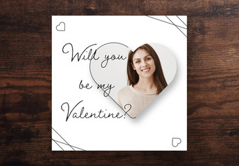 Valentines Card Layout with Heart Shaped Photo Mask