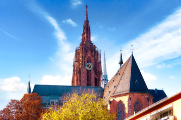 View to the famous Imperial Cathedral of Saint Bartholomew in the old town Frankfurt am Main, Germany