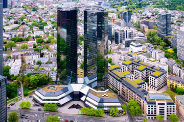 Frankfurt, Germany, 05/02/2018: Aerial view to the Deutsche Bank building in the city of Frankfurt am Main, Germany