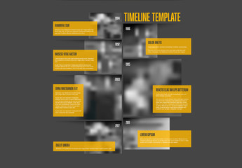 Timeline Infographic with Orange Text Fields