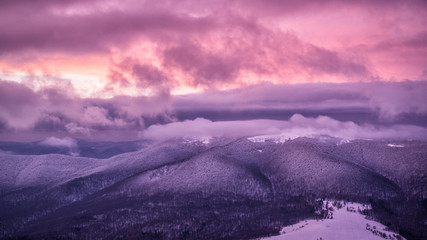 Wall Murals Candy pink Splendid sunrise in the mountains. Carpathian Mountains. Bieszczady National Park. Poland.