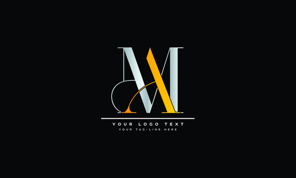 AM ,MA ,A ,M Letter Logo Design with Creative Modern Trendy Typography