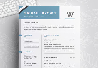 Clean and Professional Resume and CV Layout