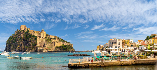Wall Mural - Landscape with Porto Ischia and Aragonese Castle, Ischia island, Italy