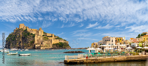 Wall mural Landscape with Porto Ischia and Aragonese Castle, Ischia island, Italy