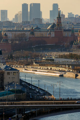 Printed roller blinds Eastern Europe Moscow Kremlin, Red Square, Zaryadye Park, Floating bridge and St. Basil's Cathedral. Floating bridge in park Zaryadye. Spasskaya Tower and Vasily Blessed Cathedral (Saint Basil's).