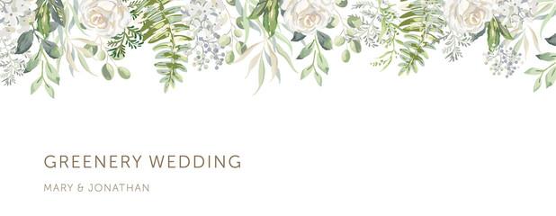 Delicate border of white flowers, forest green leaves, white background. Wedding invitation banner frame. Rose, hydrangea, fern. Vector illustration. Floral arrangement. Design template greeting card