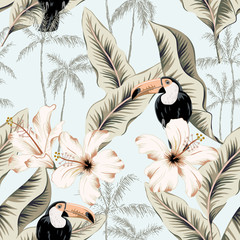 Toucans, white hibiscus flowers, banana leaves, palm trees, light blue background. Vector floral seamless pattern. Tropical illustration. Exotic plants, birds. Summer beach design. Paradise nature
